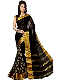 Deepjyoti Creation Women's Cotton Silk Saree With Blouse Piece (Dps-1161R6, Black, Free Size)