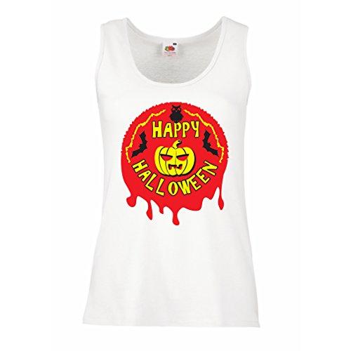 lepni.me Damen Tank-Top Happy Halloween! - party clothes - pumpkins, owls, bats (XX-Large Weiß Mehrfarben)