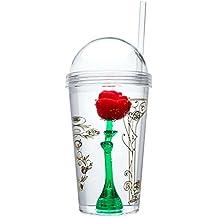Belleza y la bestia–taza–Vaso con pajita–Magic rosa–edición limitada