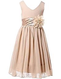 HAPPY ROSE Junior Bridesmaids V-Neckline Chiffon Flower Girl Dress 5931e7681
