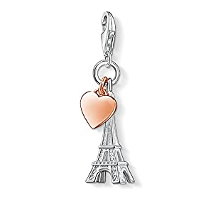 Thomas Sabo Damen-Charm-Anhänger Eiffelturm Paris Charm Club 925 Sterling Silber 750 rosegold vergoldet 0904-415-12