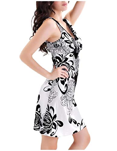 CuteRose Women Floral Print Nightgown Sexy V-Neck Charmeuse Sleep Dress Argent XL Charmeuse-print-shorts