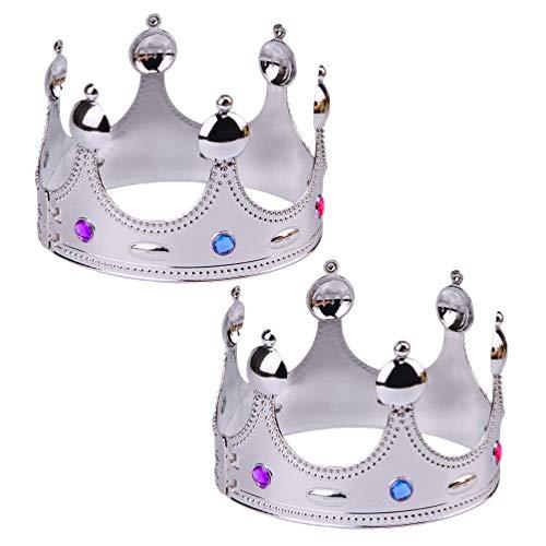 UPKOCH 2 Stücke König Krone Kristall Krone Tiara Prinzessin Haarschmuck Kuchendeko für Männer Damen Kopfschmuck Mädchen Kinder Geburtstag Halloween Party Kostüm - Kind Mittelalterlicher König Kostüm