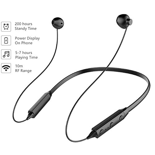 Cuffie bluetooth, auricolari bluetooth 4.2 wireless senza fili neckband stereo sweatproof sportive per iphone x/8//7/6 samsung galaxy/note huawei e android smartphone(nero)