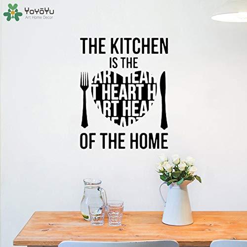 Wandtattoo Küche ist das Herz des Hauses Zitat Wandaufkleber Esszimmer selbstklebende Haushaltswaren kreative Muster Fenster Dekor 57x72cm