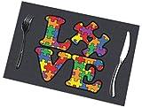 NE Autismus Awareness Puzzle-Tischmatten 6er Set waschbar Wärmeisolierung rutschfest Platzset für Esstischmatten 30,5 x 45,7 cm