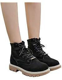 Stiefel Damen Martin Stiefel Mode Frauen Wildleder Stiefel High Heel  Schnalle Stiefel Freizeitschuhe Klassische Stiefeletten ABsoar 7c59dfb4d3