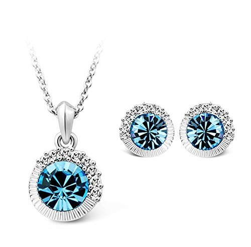 T400 Jewelers Halskette Ohrringe Schmucksets Frauen Mit Kristallen Einstellbar Schmuck Geschenk für Frauen Mädchen