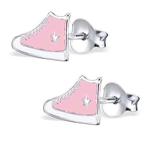 JAYARE Kinder Ohrstecker Schuhe Sneaker 925 Sterling Silber 6 x 10 mm pink weiß Mädchen Ohrringe im Geschenketui Turnschuhe Sterne Turn-stopper