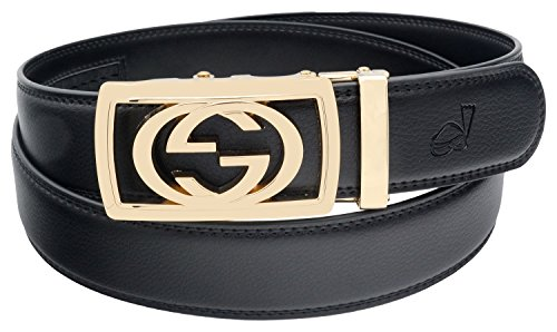 QHA Mens GG Belt Automatic Buckle Casual Ratchet Waist Q3001