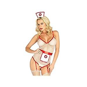 Sexy Kleidung Dessous Maid Cosplay Sexy Uniform Krankenschwester Rollenspiel Anzug Versuchung Krankenschwester Uniform Perspektive Mesh tiefer V-Ausschnitt Erotische Dessous Set_ (Weiß) Cosplay Kostüm