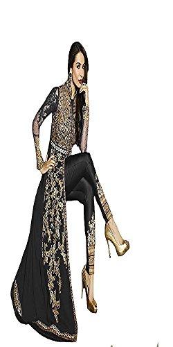 Braut Brautkleid indischen muslimischen Frauen Kleid Hijab Anarkali Salwar Kameez Anzug Party Wear 9215 .. (black, 32 to 44) (Georgette Anzug)