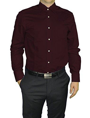 Redmond - Modern Fit - Herren Langarm Hemd in verschiedenen Farben, Unifarben, Bügelleicht (150110) Rot(59)