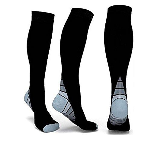 Männer Frauen Compression Socken, Kingwo Sportlich Socken Fit für Laufen Socken Reise Boost Ausdauer Fußball Fußball Socken (Grau, - Halloween-stiefel Halterlose Strümpfe