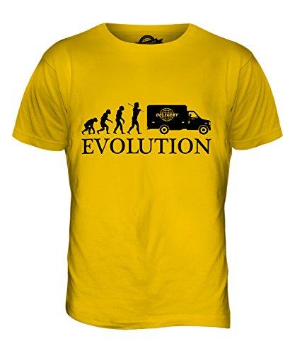 CandyMix Corriere Espresso Evoluzione Umana T-Shirt da Uomo Maglietta Giallo Scuro