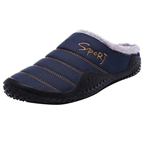 HDUFGJ Herren & Damen Hausschuhe Wasserdicht Plus Samt Warm halten Hausschuhe aus Baumwolle, Antirutsch Pantoffeln47 EU(Blau)