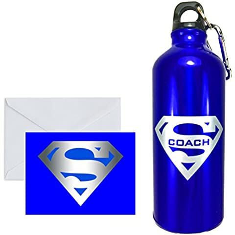 SUPER MUGS TM Coach Blue and Silver Insulated BPA Free 20 Oz Aluminum Water Bottle, Twist Cap with Carabiner Plus Matching Greeting Gift Card (Blank Inside) by Super Mugs