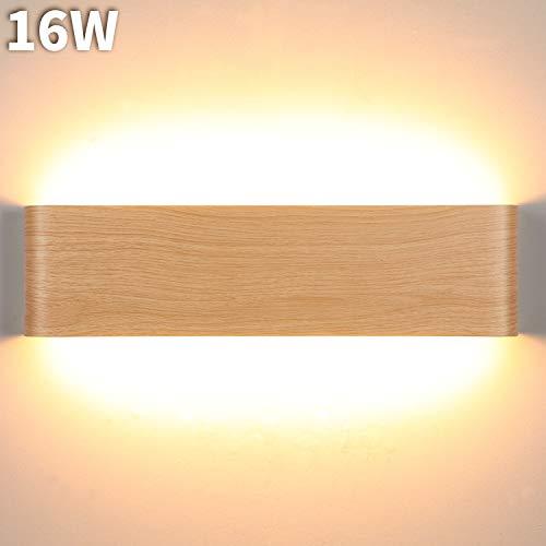 Lightess 16w applique da parete interno moderno led lampade da parete luce in alluminio per corridoio, bagno, scala, camera da letto, soggiorno, colore del legno, bianco caldo