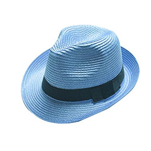 Boolavard Damen Breiter Krempe Stroh Panama Hut Fedora Beach Sun Hut UPF50 + (Blau)