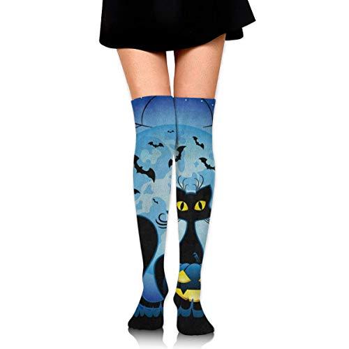 fghjdfcnfd Unisex Knee Socks Hipster Cat Full Moon Spider Web Halloween Long High Knee Stocking Soft & Breathable for Men and Women -