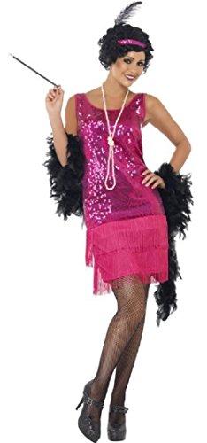 ette 1920s Jahre Flapper Gangster Junggesellinnenabschied Kostüm Kleid Outfit UK 8-22 Übergröße - Rosa, 12-14 ()