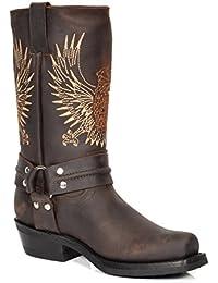 Leder Cowboy Stiefel überstreifen Quadrat Zehe Wadenlänge Western Absatz 08BE-HI Braun