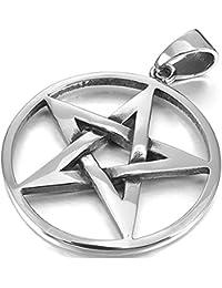 877d3d00a0c8 mi ji Joyería Collar Pendiente del Acero Inoxidable de los Hombres de Plata  del Tono Pentagram