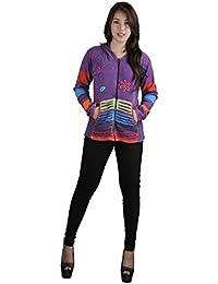 Femmes Multicolore coton Cardigan avec Razor Broderie & Coloful place PatchMix