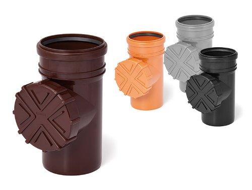 Überlauf-filter (Reinigungsrohr mit Sieb für Dachrinnen Fallrohr 110 mm grau Rohr Schraub Deckel)