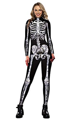 Neusky Lady Skull Skelett Kostüm Perfektes Kostüm für Halloween, Weihnachten , Karneval oder Mottoparties (M, (Sexy Disco Jumpsuit Kostüm)