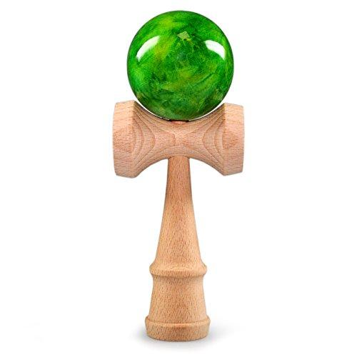 Ganzoo Kendama aus echtem Buchen-Holz, Original Japanisches traditionelles Holz-Spielzeug, Modell: grün, Kugel-Spiel, Geschicklichkeits-Spiel (Kendama Holz-classic)