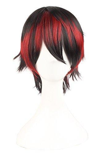 MapofBeauty mischfarbige kurze gerade Cosplay Perücke (schwarz/ rot (Kurze Perücken Rote)