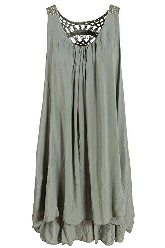 Sommerkleid mit Spitze am Rücken Tunikakleid knielang Olivgrün 38+40