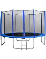 SixBros. Sixjump 4,00 M Trampoline de jardin bleu Certifié par Intertek / GS - Filet de sécurité - Échelle - Housse de protection - CST400/L1741
