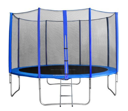 SixBros. Sixjump 4,00 M Trampoline de Jardin Bleu - Filet de sécurité - Échelle - Housse de Protection TB400/1741