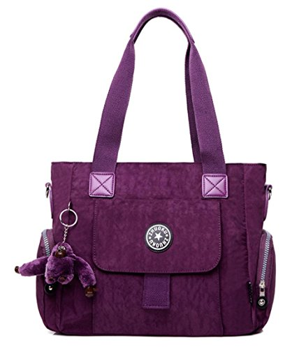 Retro delle donne lavato Oxford Cross-body Shoulder Bag Totes Satchels , brilliant purple