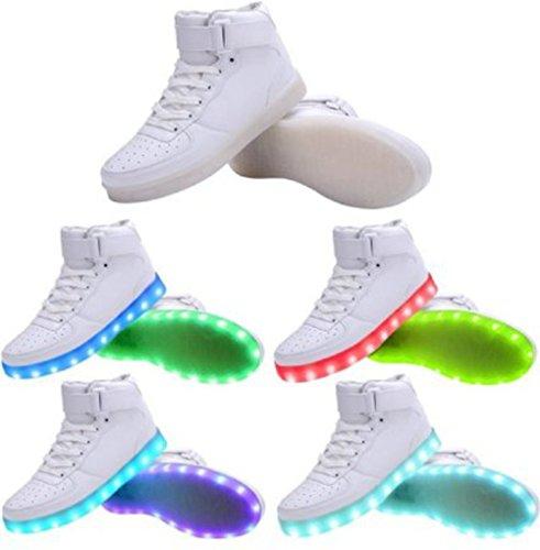 [Présents:petite serviette]JUNGLEST - 7 Couleur Mode Unisexe Homme Femme USB Charge LED Lumière Lumineux Clignotants Chaussures de marche Chaussures de Sports Basket Blanc 1