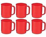 6 x Poly Plastic Camping Mug - 275ml - Red