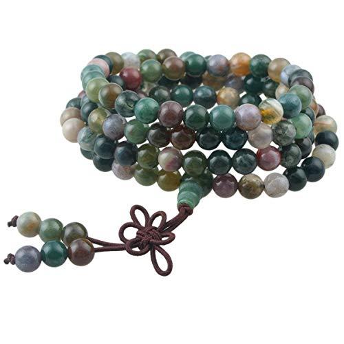 KYEYGWO 108 Gebet Mala Perlen Armband für Damen Herren, 6mm Tibetisch-buddhistischen Heilstein Halskette für Unisex, Indischer Achat (Achat-anhänger-halskette)