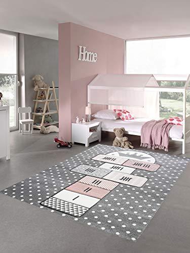 Merinos Kinderteppich Hüpfspiel Teppich Hüpfkästchen in Grau Rosa Creme Größe 80x150 cm