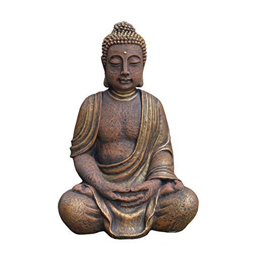 gartendekoparadies.de Massive Steinfigur riesiger Buddha Statue aus Steinguss frostfest (Gold)