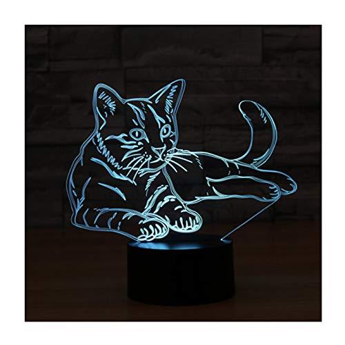 3D Illusion Lampe LED Nachtlicht, EASEHOME Optische 3D-Illusions-Lampen Tischlampe Nachtlichter 7 Farben Berührungsschalter Schreibtischlampe mit 150cm USB-Kabel Kinder Nachtlampe, Katze -
