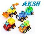 #7: AKSH Plastic Unbreakable Automobile Car Construction Team Set for Kids (Multicolour) - Pack of 4