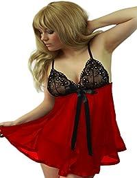 MOONIGHT Exotic a través de la mujer encaje babydoll Plus tamaño lencería + G String