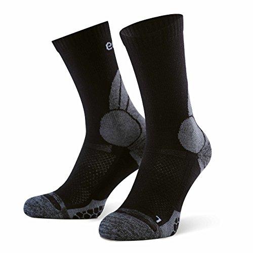 Amazon Marke: Eono Essentials Wander- und Trekking-Socken aus Merinowolle für Herren und Damen, Größe 39-42, Schwarz-Grau, 2er-Pack