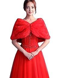 SK Studio Mujer Estola de Pelo Chale Rojo Fiesta Bolero Invierno Capa para Bodas Novia