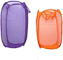 Kuber Industries™ Mesh Laundry Basket 2 Pcs Set (Big+Small) - Colour and Print might vary according to availibility
