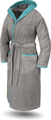 normani Damen Baumwoll Bademantel mit Kapuze - Weiche Premium Qualität - Öko Tex 100 Farbe Grau/Petrol Größe M