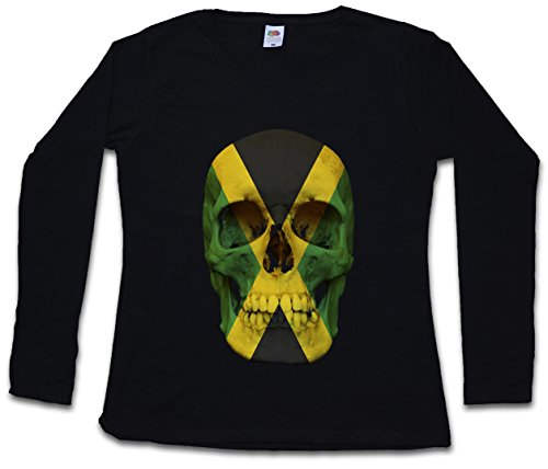 Flag Shirt Jamaican (Urban Backwoods Jamaica Jamaican Skull Flag Damen Girlie Langarm T-Shirt - Totenkopf Jamaika Rasta Fahne Biker Girl Größen XS – 2XL)