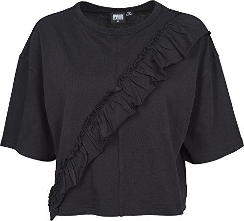 Urban Classic Ladies Short Oversize Volant Tee, T-Shirt Donna Schwarz (Black 00007)